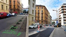Smutní smajlíci okolo výmolů ze silnice v Římské zmizeli: Vozovku silničáři opravili