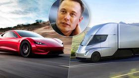 Novinky Tesly: Miliardář Musk představil elektrický kamion i sporťák