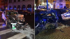 """Opilý """"kluk"""" v luxusní káře: V centru Prahy naboural několik aut"""