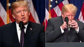 Další příznak Trumpovy demence? Napít se musel za pomoci obou rukou jako malé dítě