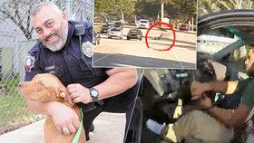 Zdrogovaný řidič vlekl policistu skoro kilometr na dveřích. Jízdu točila kamera