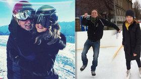 Babiš vzal manželku na lyže, Bartoš na brusle. Vojtěch vítal miminko Šlechtovou