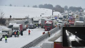 Další problémy na D1: Kamiony zablokovaly stoupání na Prahu, silničáři nemůžou dělat údržbu