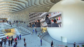 Ráj knihomolů: Futuristická knihovna Binhai ve městě Tchien-ťin v Číně