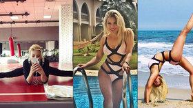 Pružná sexbomba Eva Perkausová: Roztahuje nohy v tělocvičně!