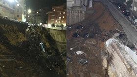 V Římě se propadla země, v devítimetrové jámě zmizely domy i auta