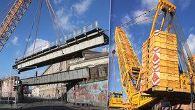 Na Florenci umístili 170 tunový kolos. Negrelliho viadukt má novou ocelovou konstrukci