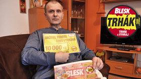Invalidní důchodce Erich Hanzlík (52) zažil s Trhákem pocit štěstí: Desetitisícovou výhru oplakal!