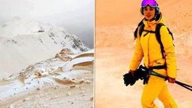 Oranžový sníh šokoval lyžaře, východní a jihovýchodní Evropu změnil na Mars