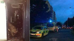 V Brně vyhořel byt: Majitel uvízl na balkoně, prasklé stoupačky komplikovaly práci