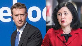 """Jourová o """"průšviháři"""" Facebooku a ovlivňování českých voleb: Zuckerbergovi se to vymklo"""
