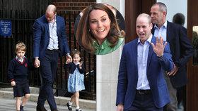 Princ William po porodu Kate opustil nemocnici: Pak se ale vrátil i se staršími dětmi!