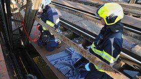 Pro labuť sešplhali hasiči: Uvázla v železničním mostě