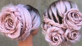 Růžové květy stvořené z vlasů: Svatební účes, který pobláznil svět!