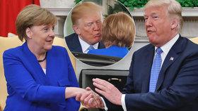"""Trump dal """"za uši"""" Němcům i Čechům. Merkelovou ale políbil v Bílém domě"""
