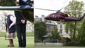 Královna Alžběta II.: Odletěla helikoptérou na první návštěvu pravnuka Louise