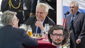 Zeman bude slavit s Rusy. Ovčáček vypěnil kvůli novičoku, sám ale dřív mluvil jinak