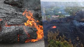 Turistický ráj ničí sopka: Láva válcuje na Havaji domy, lidé v panice prchají