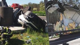 Tragédie na Slovensku: Z české dodávky zbyla po nehodě hromada šrotu, řidič je mrtvý