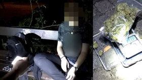Dívka (18) si za tmy svítila na lavičce, aby zvážila marihuanu. Všimli si jí strážníci