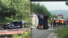 Cisterna na dálnici D1 vjela do protisměru. Na místě zemřel řidič osobního auta