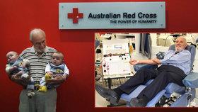Australan daroval krev 60 let. Zachránil 2,4 milionu dětí