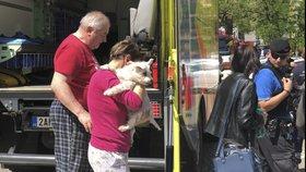 Na Žižkově hořel byt. Hasiči z domu zachránili dvanáct lidí a psa
