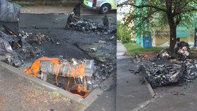 Zvrhlí pyromani zapálili 11 kontejnerů v Hloubětíně! Zavolali hasiče a sledovali, jak oheň likvidují
