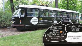 Ulice Prahy brázdí černé tramvaje. Takzvané Vymlouvačky ukazují trapné výmluvy černých pasažérů