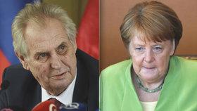 """Merkelová strhala odsun Němců a navezla se i do Beneše. Zeman """"hluboce nesouhlasí"""""""