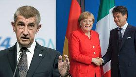 Babiš za Merkelovou na summit o migrantech nakonec nepojede. Rozlícený Ital ano