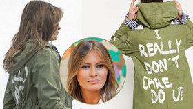 Melania Trumpová to schytala za bundu, ve které letěla za dětmi migrantů