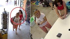 V obchodě si koupila podprsenku a měla ukrást mobil za 18 tisíc: Ženu v červeném hledá policie