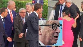 Juncker v sídle NATO vrávoral: Šéfa Evropské komise prý trápí sedací nerv