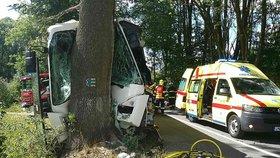 Autobus na Olomoucku narazil do stromu: Všichni jsou zranění, řidiče museli vyprošťovat