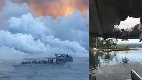 Lávová bomba vyletěla z vody a trefila loď s turisty: 23 zraněných na Havaji