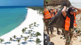 Oblíbenou pláž zaplavily odpadky. Stovky tun plastů v Karibiku uklízí i armáda