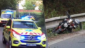 Vážná nehoda v Horoměřické. Mladý motorkář naboural do svodidel, s úrazem hlavy jej odvezla sanitka