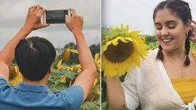 Slunečnicové pole zaplavily tisíce lidí toužící po selfie. Musela zasáhnout policie