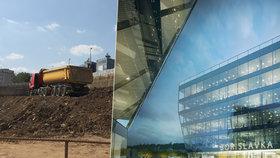 """""""Sci-fi lodě"""" v Dejvicích? U Bořislavky rostou čtyři skleněné budovy, budou v nich kanceláře i obchody"""