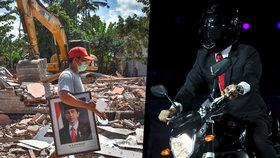 Prezident na motorce senzací internetu. Země se však těžce dostává z ničivého zemětřesení