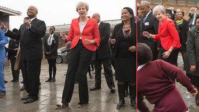 """Mayová si v Africe """"zatrsala"""" se školáky. Za svůj podivný tanec sklízí doma posměch"""