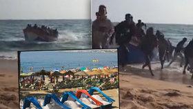Na pláži ve Španělsku se vylodilo přes 30 migrantů. Utíkali turistům přes ručníky