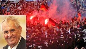 Zeman podpořil odpůrce migrantů u českých hranic. Němce kritika Merkelové zaujala
