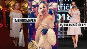 Slováčková oblíbené šaty nepřevléká: Blýskla se v nich na Fantomovi, pak i druhý den jinde