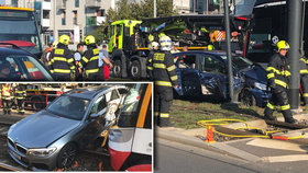 Dvě nehody tramvaje a auta v Praze v krátkém sledu! Bouralo se ve Strašnicích a Vršovicích