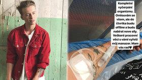 Vítěz 1. kola Tváře Drahokoupil skončil v nemocnici na kapačkách! Vyčerpání organismu