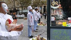 """Vegani chtějí změnit návyky """"masožravých"""" Francouzů. Do výlohy řeznictví házeli cihly"""