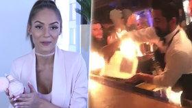 Nové VIDEO zachytilo brutální popálení Týnuš Třešničkové ve slavném baru: Kdo první začal hasit?
