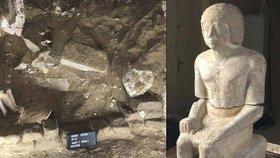 Unikátní objev českých archeologů: V Egyptě našli hrobku úředníka i s jeho sochou